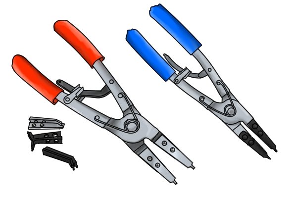 Many circlip plier have interchangeable parts, such as heads or tips