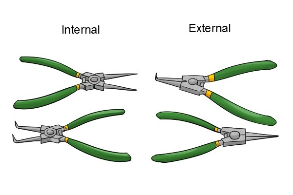 Circlip pliers come in internal and external versions for removing different types of retaining ring