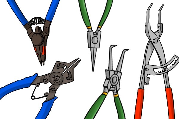 What are the different types of circlip pliers?