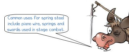 """Wonkee Donkee says """"Common uses for spring steel include piano wire, springs and swords used in stage combat."""""""