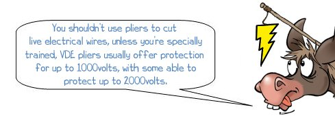 """Wonkee Donkee says """"You shouldn't use pliers to cut live electrical wires, unless you're specially trained, VDE pliers usually offer protection for up to 1000 volts, with some able to protect up to 2000 volts."""""""