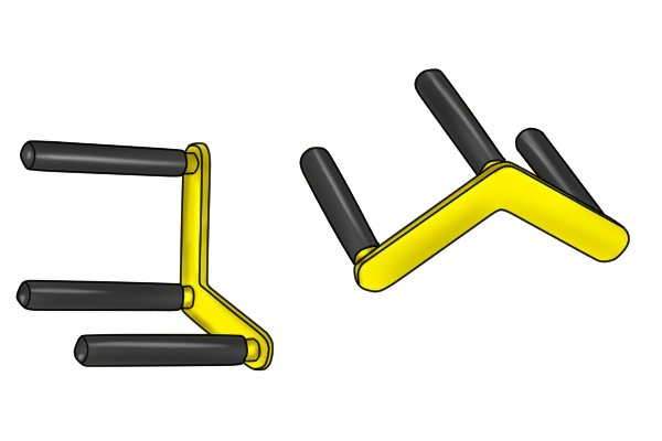 Three arm door or board carrier uses two of the arms to grip. They come in patir for lifting plasterboard and other boards