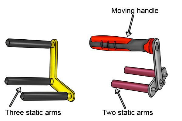 Some board carriers have static arms used to wedge a material between them and lift it