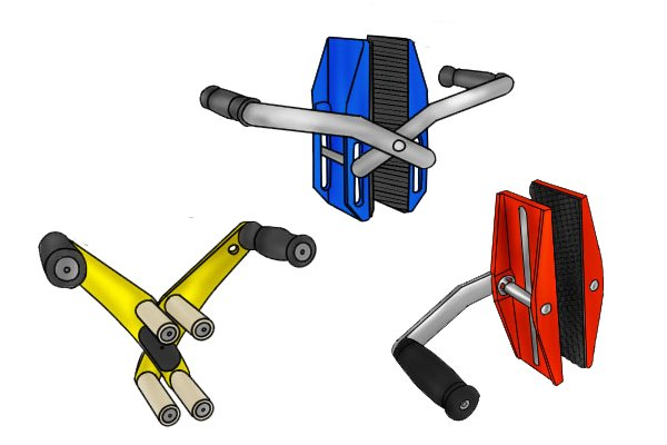 Some door or board carriers are heavy-duty and are sometimes called carry clamps