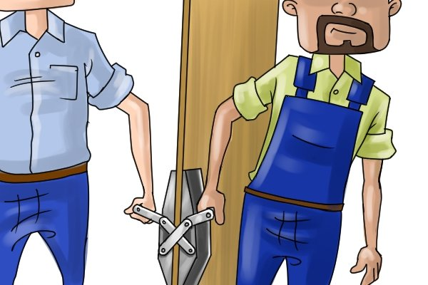 Using a door or board carry clamp should make it easier to lift heavy panels and boards of stone or wood