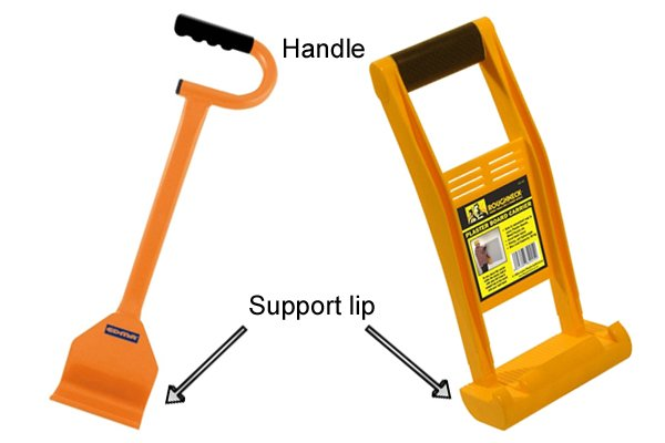 Base door carriers or board carriers are simple tools with a handle and lip to hold a board or panel