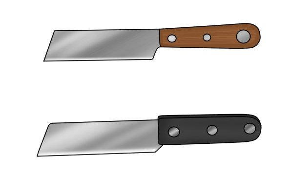 Hacking knives have stright blades