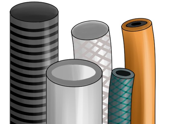 Plastic conduit pipe and hose cutters can cut fabric reinforced plastic hose or plastic pipes