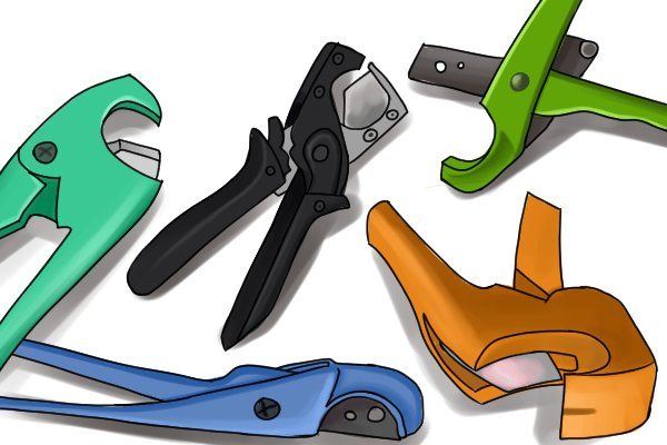 Plastic conduit pipe and hose cutters consist of handles, blade, anvil jaw and a locking lever