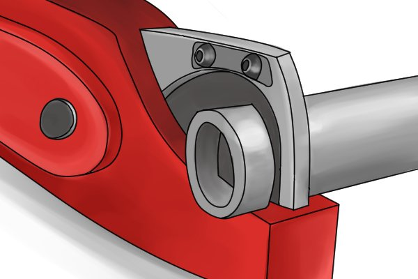 Plastic conduit pipe and hose cutters have a pointed balde