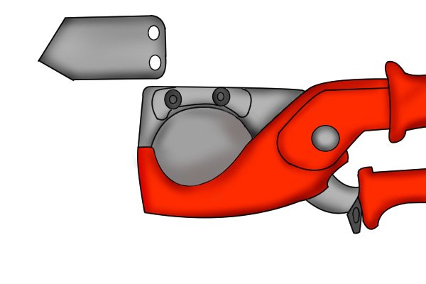 Plastic conduit pipe and hose cutters have a hardened steel blade
