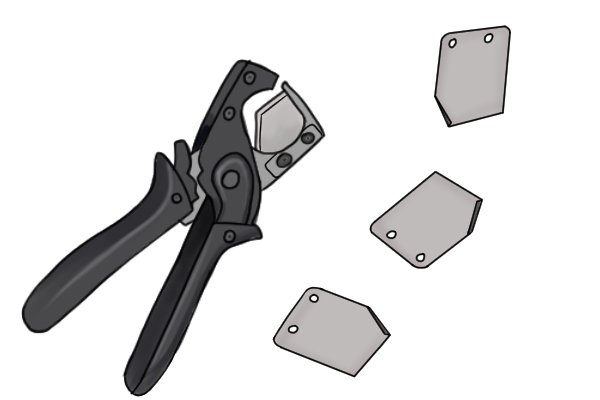 Plastic conduit pipe and hose cutters have replaceable blades