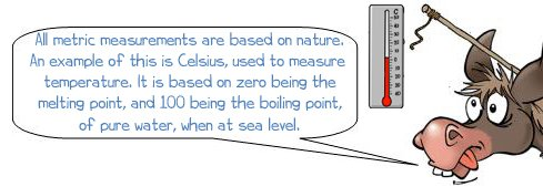 """Wonkee Donkee says """"All Metric measurements are based on occurrences in nature. An example of this is Celsius, used to measure temperature, it is based on zero being the melting point and 100 being the boiling point of pure water, when at sea level."""""""