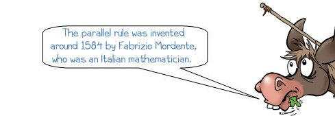 "Wonkee Donkee says ""The parallel rule was invented in around the 1580s by an Italian mathematician called Fabrizio Mordente"""