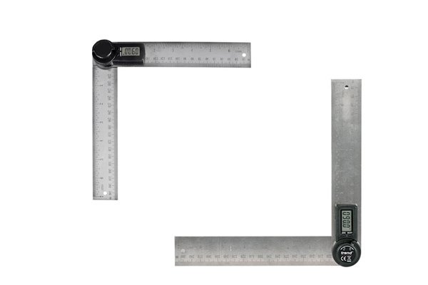 Digital angle rules consist of two rulers, a digital display, a locking knob, hanging holes, an on / off button and a zero button to reset the display