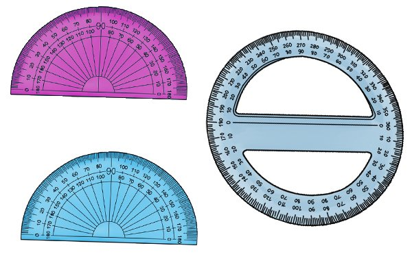 Protractors are used to measure angles, digital angle rules can also measure angles