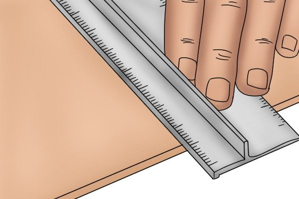 Measure using a safety rule in the same way you would with any ruler