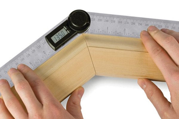A digital angle rule has two rulers which can measure angles