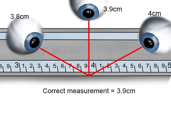 Parallax occurs when an object is viewed at an angle, this can affect the accuracy when reading a ruler