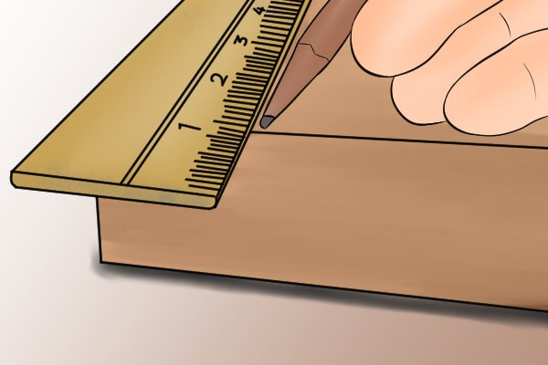 You might want to measure and mark out the exact position for your line before you position the ruler