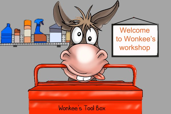 Wonkee Donkee keeps all his tools and equipment in his tool box, in his workshop