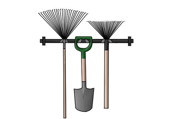 Rakes are best stored off the ground, hanging from a hook