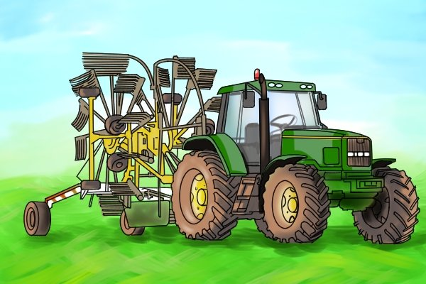 Tractors can be used to pull large mechanical rakes across fields