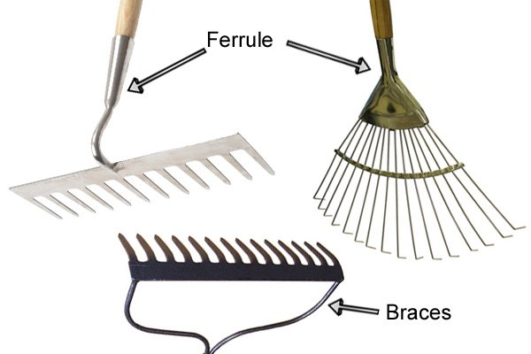 Some rakes have two braces to give the head extra support