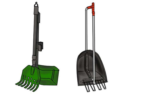 Poop-scoop rakes are used to collect dog waste
