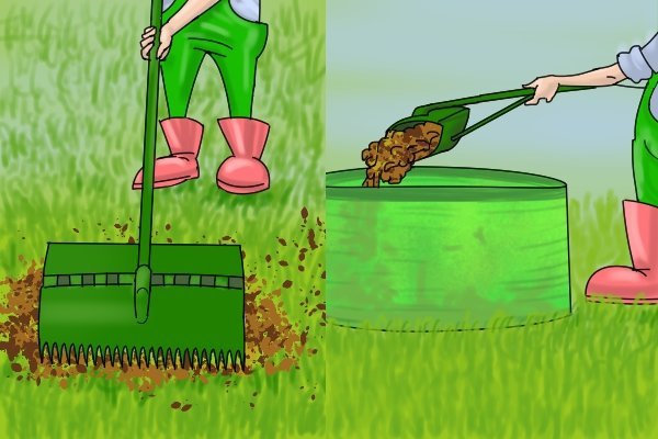 Some rakes have a head which closes on itself to scoop up leaves and other garden waste