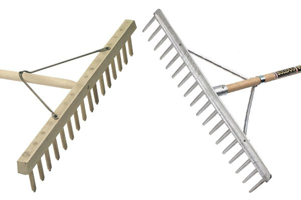 Hay rakes are large rakes used to gather dried grass and hay