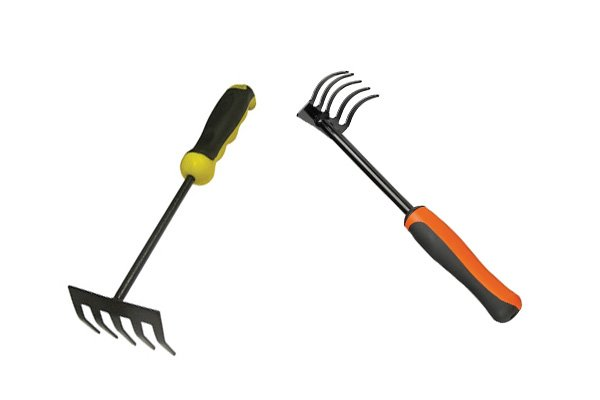 Hand rakes are smaller versions of a standard rake used to close up work in flower beds