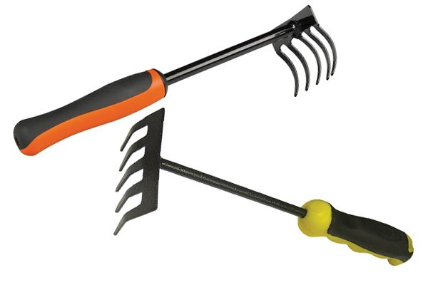 Garden hand rakes are like miniature versions of standard garden rakes