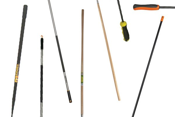 The handles of rakes are made from different materials