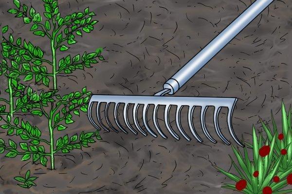 Garden rakes can also be called soils rakes, level heads, ground rakes flathead rakes or bow rakes.