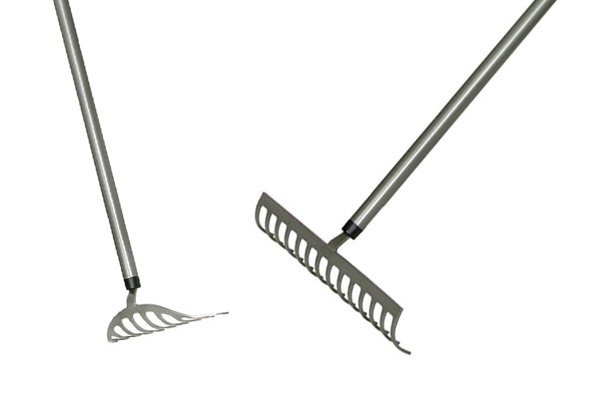 Lightweight garden rakes can be used for general soil work in planting beds