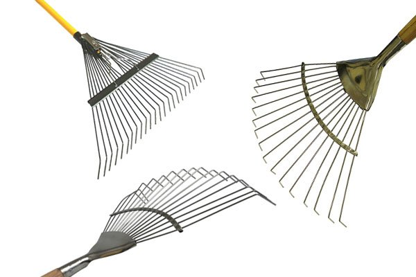 Lawn rakes are fairly versatile, they can gather leaves and also do other gardening jobs. Sometimes they are called leaf rakes