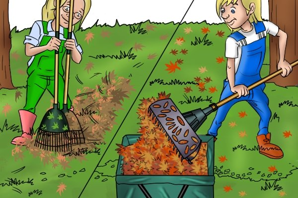 Gathering leaves is easier with rakes designed to scoop up leaves