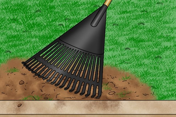 Leaf rakes with strong plastic tines should be able to spread topsoil or fertiliser over lawns. Fertiliser and topsoil should be fine and relatively lightweight, and will need to be fairly thinly spread onto lawns. Small piles of topsoil or fertiliser can be poured onto lawns and leaf rakes can sweep and level it over grass.