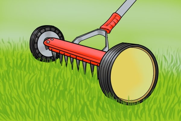 Thatch rakes sometimes have wheels on their heads so they can be set at a specific height when being used