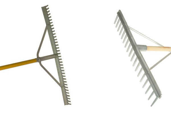 Landscape rakes are used to level ground materials like bark and chippings