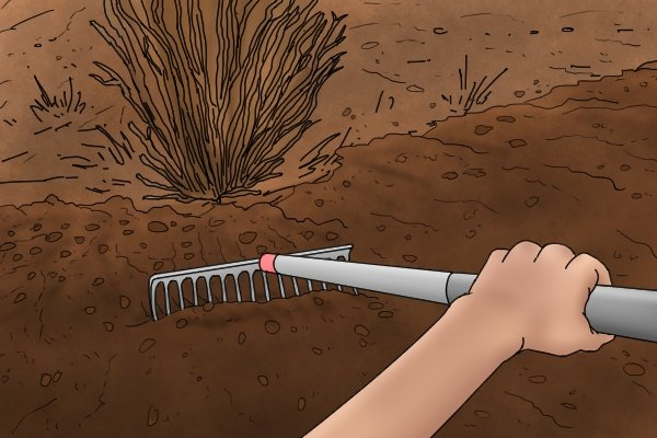 Spreading bark chips is easy with a landscape rake, the wide head can cover large areas