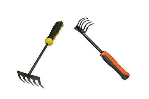 Garden hand rakes are like small soil rakes
