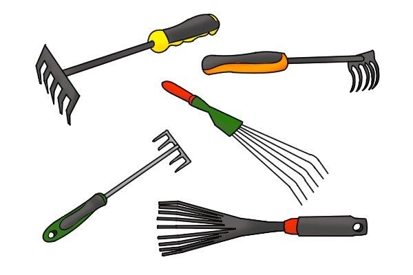 hand rakes are smaller versions of standard rakes - used for various gardening tasks