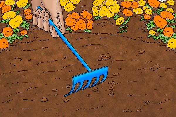 Hand rakes can be used to turn soil in small plant beds and pots