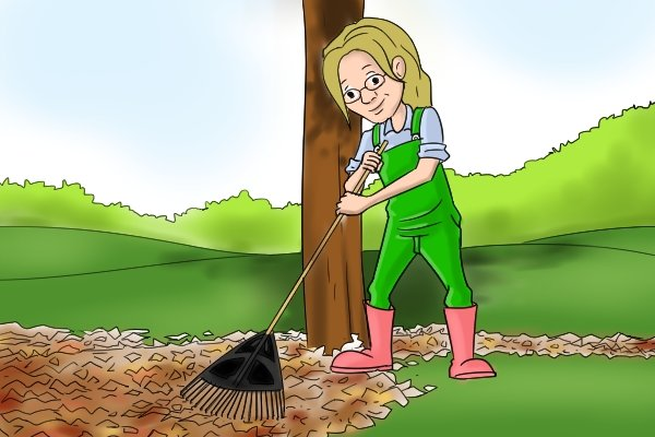 When raking leaves in autumn try to find a comfortable position to hold the rake in