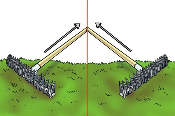 Rake in one direction first then rake at an angle to dethatch a lawn