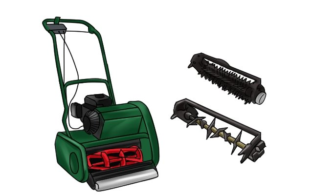 Some lawn mowers have extra attachments which can rake and scarify gardens as well as mow lawns