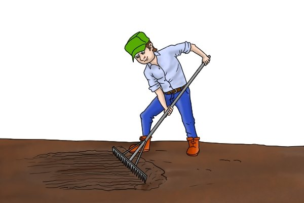 You can use the flat edge of the head of a rake to smooth over ground coverings
