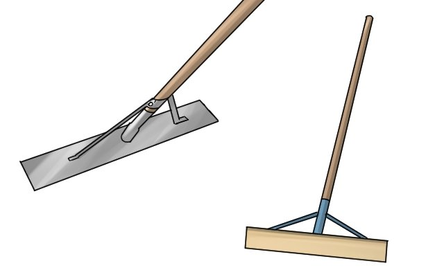 Spazzles are used for similar jobs as rakes. They have no teeth and are used to spread and smooth ground coverings like gravel, soil or tarmac